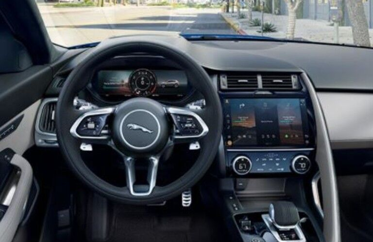 2021 Jaguar E-PACE dashboard and steering wheel