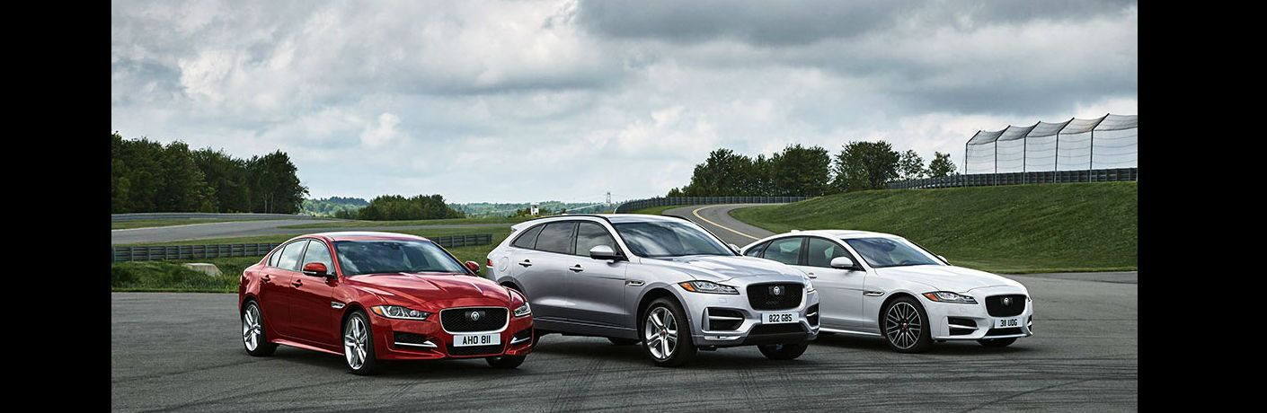image of the three diesel Jaguar models side by side on a race track