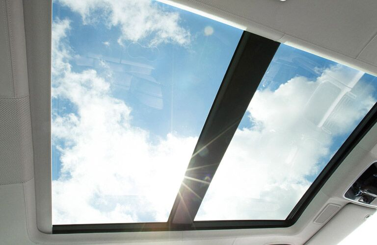 sunny day seen through the sunroof of the 2016 Land Rover Range Rover