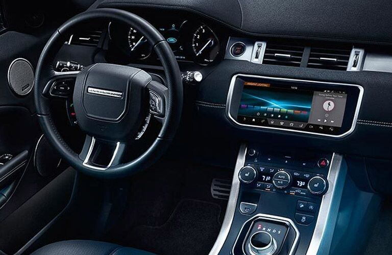 steering wheel and infotainment system of the 2017 Land Rover Range Rover Evoque