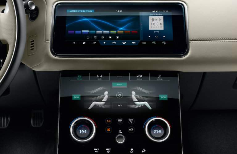 infotainment system in the dashboard of the 2018 Land Rover Range Rover Velar