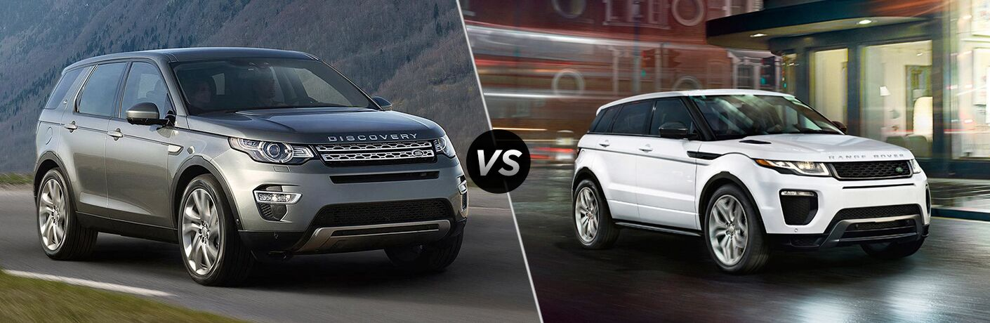 side by side images of the 2018 Land Rover Discovery Sport and 2018 Land Rover Range Rover Evoque