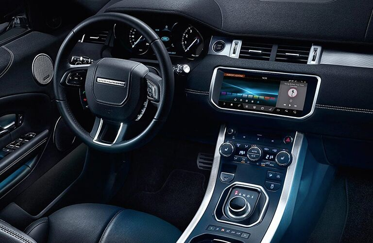 steering wheel and dashboard of the 2018 Land Rover Range Rover Evoque