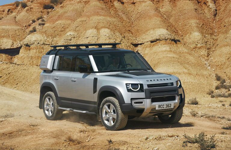 exterior front three quarter view of 2020 land rover defender suv