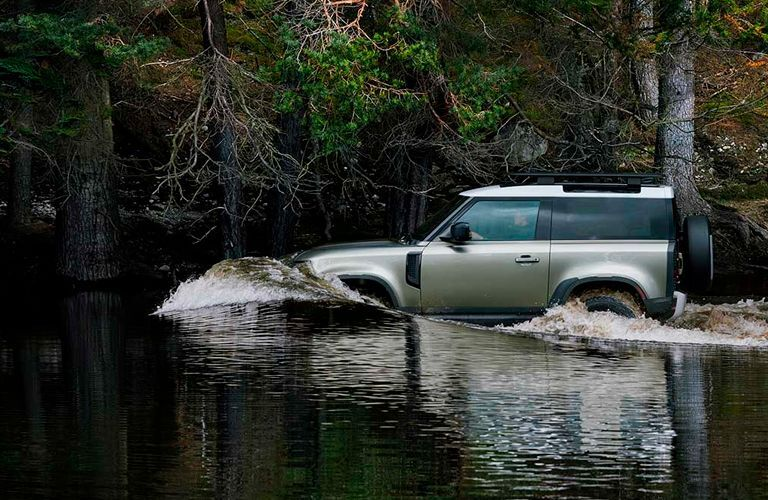 2021 Land Rover Defender fording through water