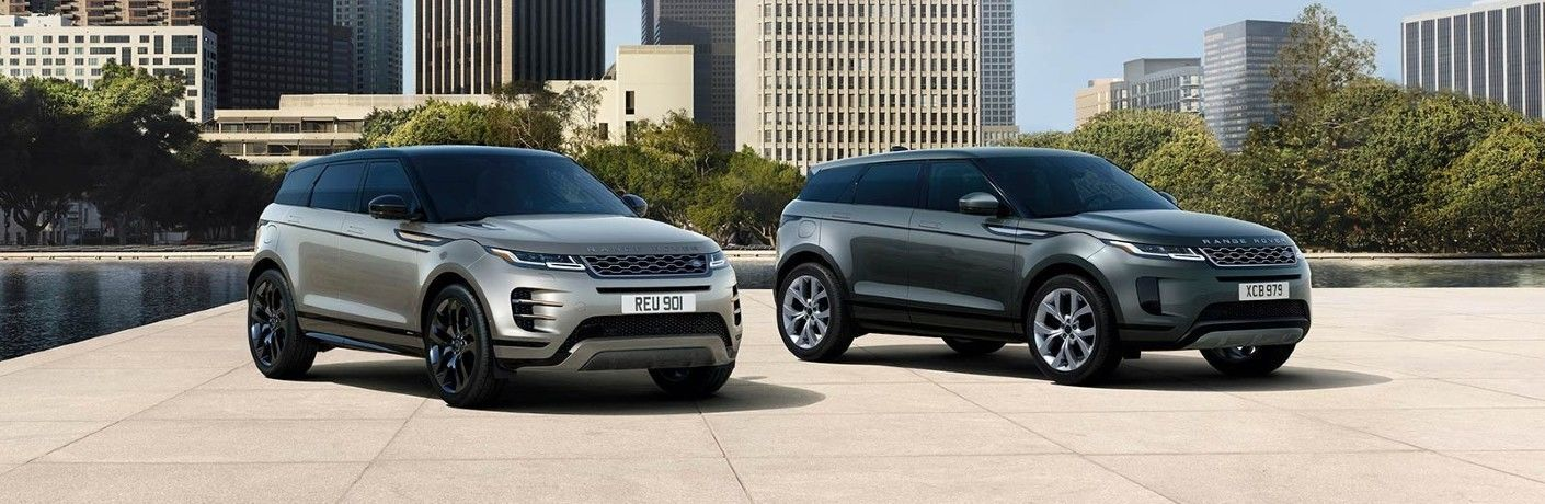 2021 Range Rover Evoque models in city landscape