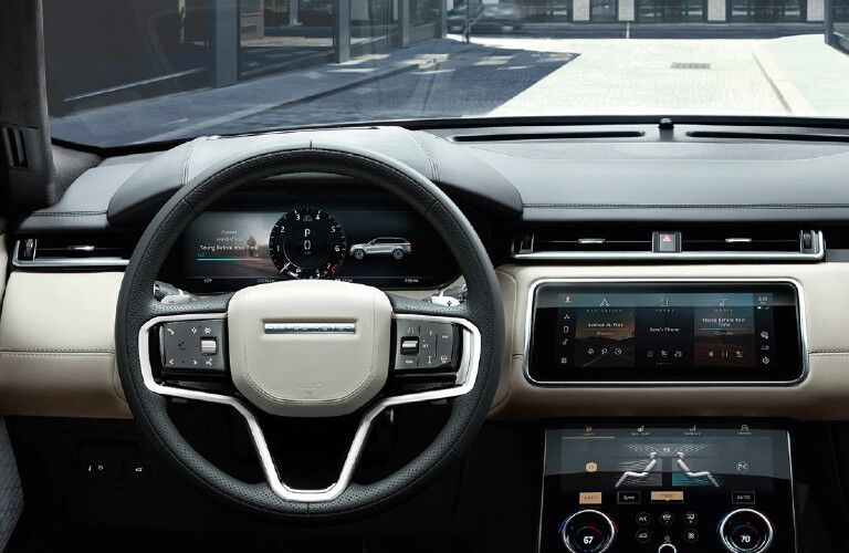 2021 Range Rover Velar dashboard and steering wheel