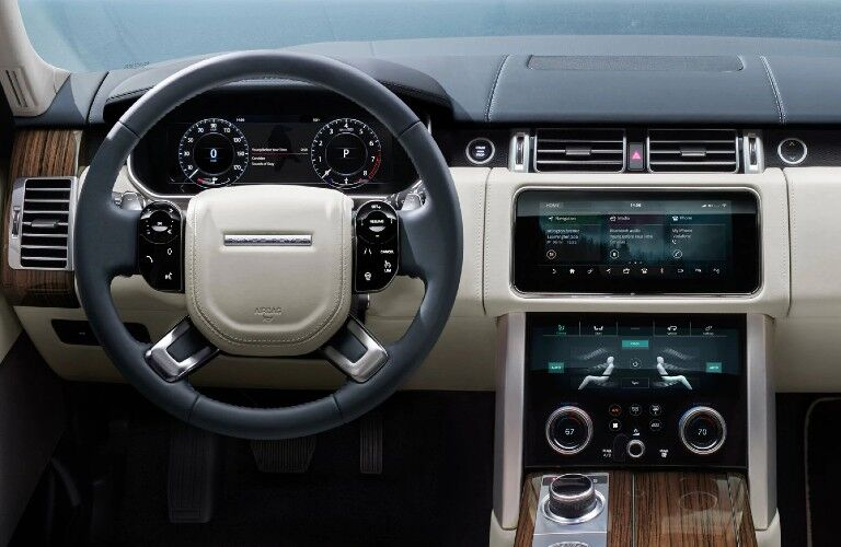 2021 Range Rover dashboard and steering wheel