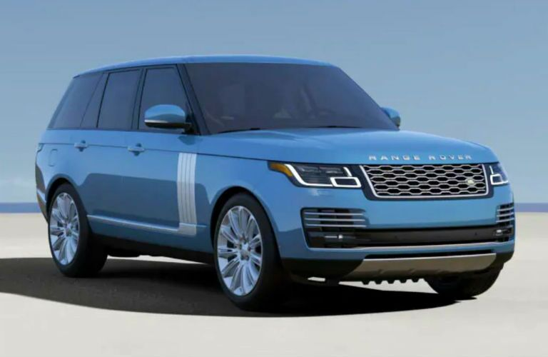 2020 range rover in blue from front three quarter view