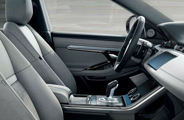 profile view of front seats in 2020 range rover evoque