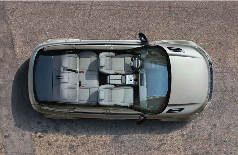 top down view of 2020 range rover evoque with roof cutaway to show seating