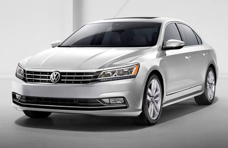 Silver 2017 Volkswagen Passat Front Exterior on White Background