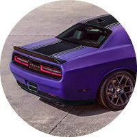 Rear view of the 2016 Dodge Challenger Plum Crazy