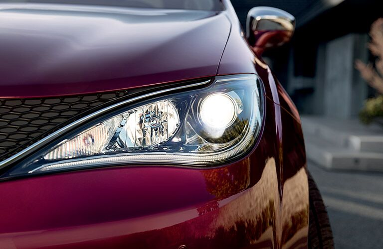 headlight closeup of the 2017 Chrysler Pacifica
