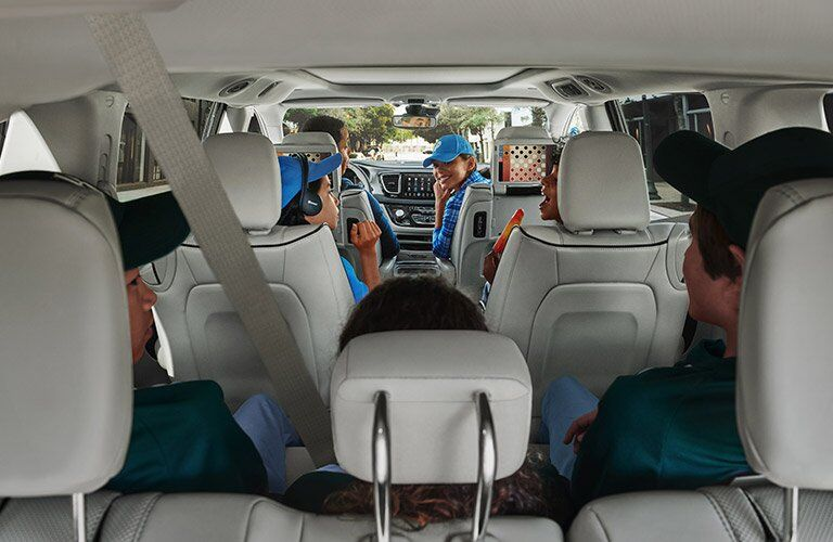 interior view of the 2017 Chrysler Pacifica Hybrid with most seats full