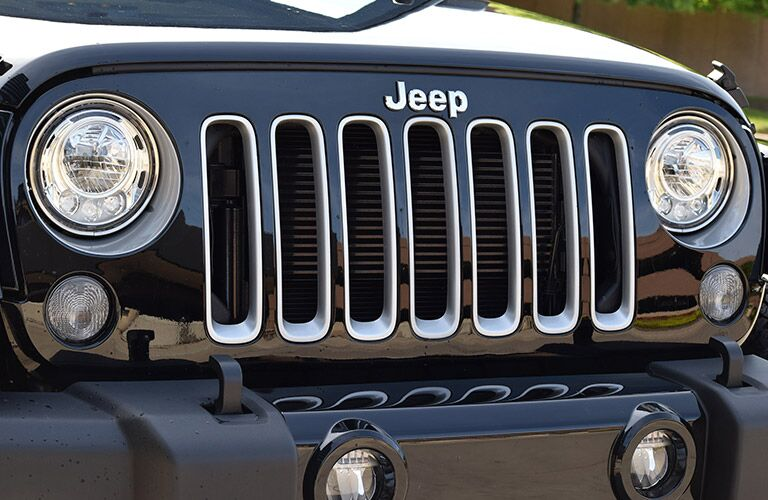 view of the new grille and headlights on the 2017 Jeep Wrangler