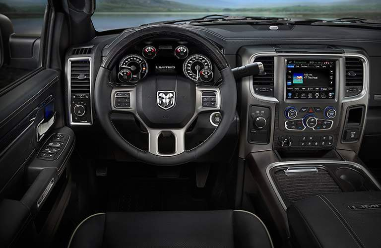 clear view of the Ram-branded steering wheel of the 2017 Ram 2500