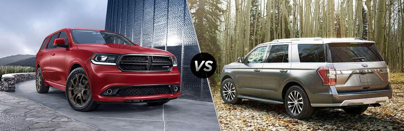 side by side images of a red 2018 Dodge Durango and a silver 2018 Ford Expedition