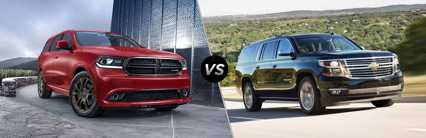 red 2018 Dodge Durango and black 2018 Chevy Suburban side by side in a comparison image