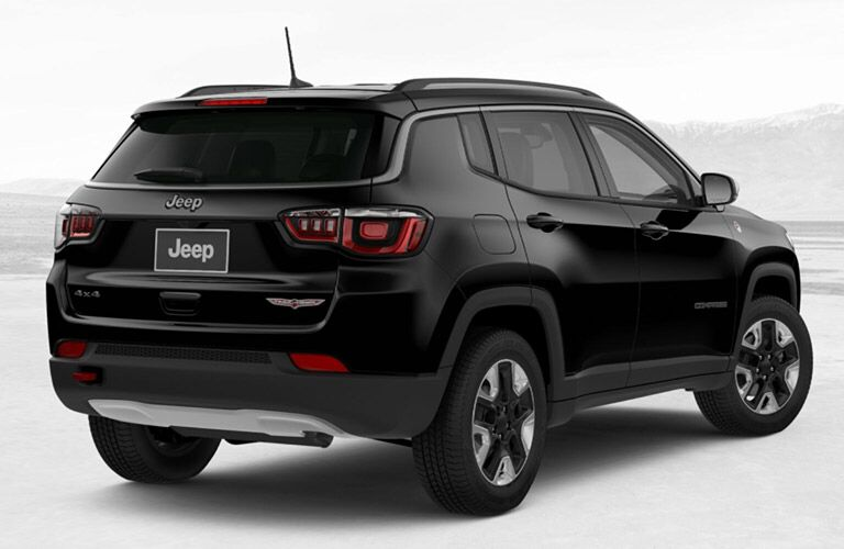 rear view of a black 2018 Jeep Compass Trailhawk