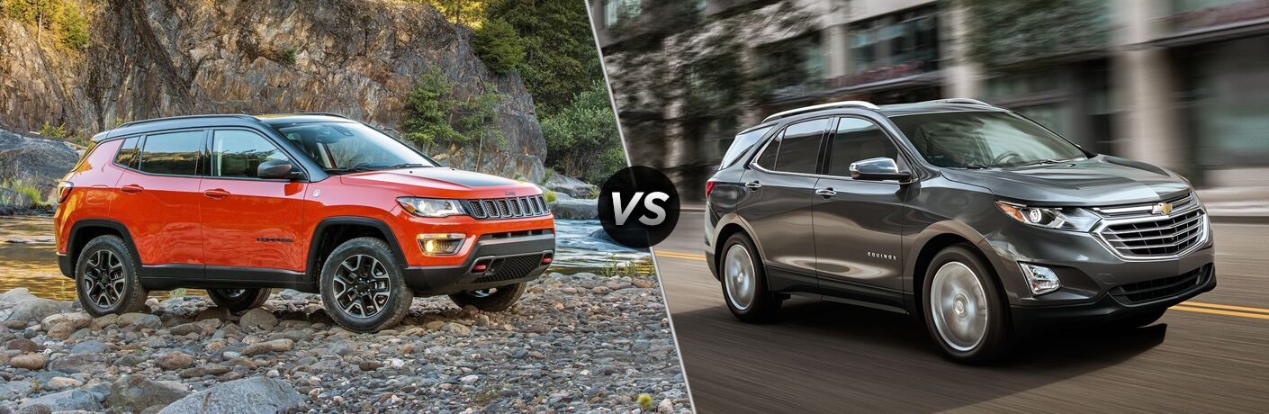 orange 2018 Jeep Compass on rocks and 2018 Chevy Equinox in the city