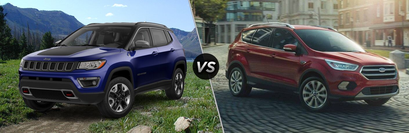 side by side images of the 2018 Jeep Compass in the wild and the 2018 Ford Escape in the city