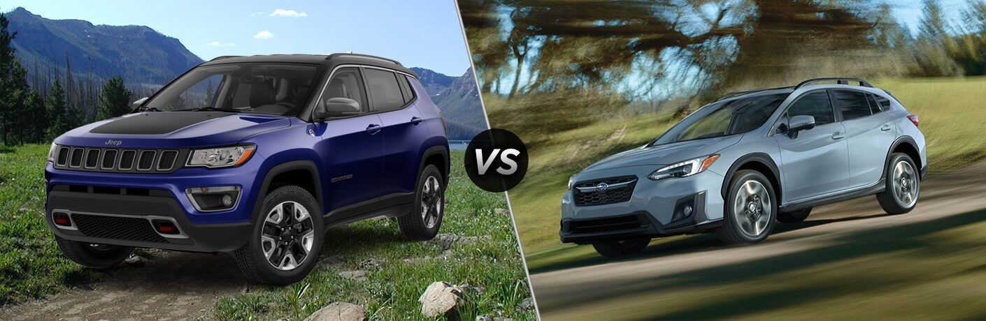 side by side comparison image of the 2018 Jeep Compass Trailhawk and the 2018 Subaru Crosstrek