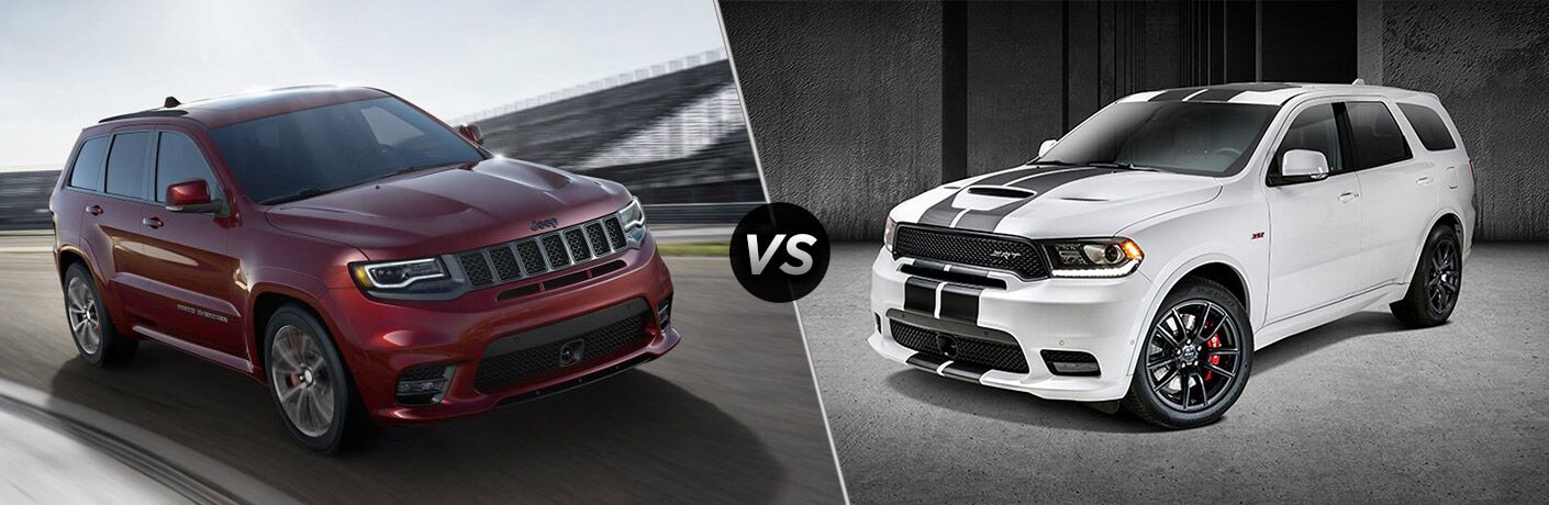 comparison image of the 2018 Jeep Grand Cherokee and 2018 Dodge Durango