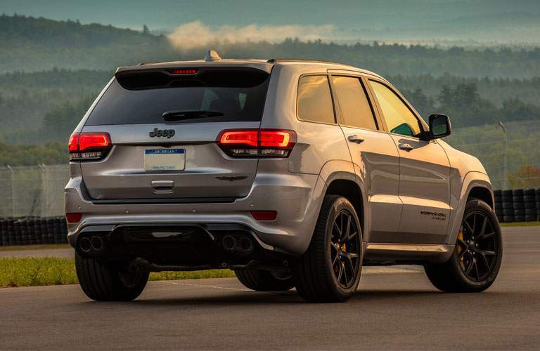 rear view of the 2018 Jeep Grand Cherokee parked on a track
