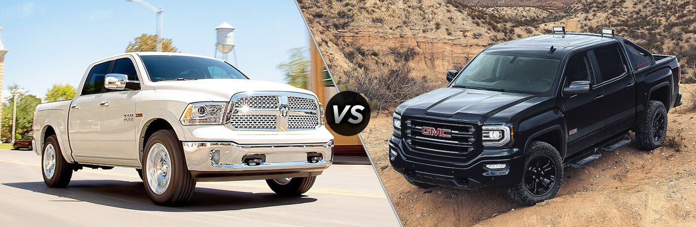 side by side comparison images of a white 2018 Ram 1500 and a black 2018 GMC Sierra