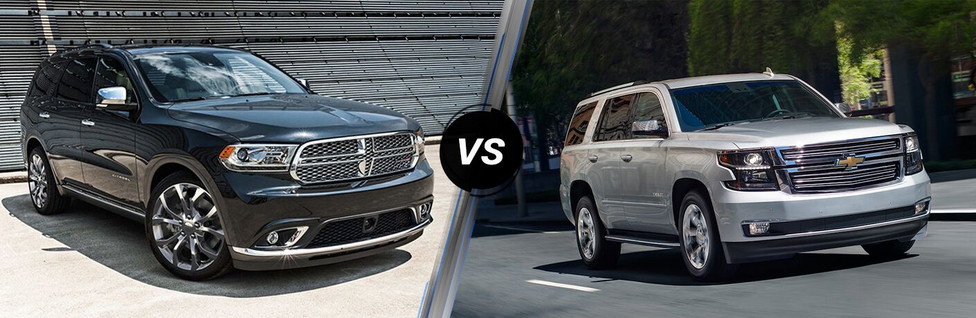 Black 2019 Dodge Durango and silver 2019 Chevrolet Tahoe