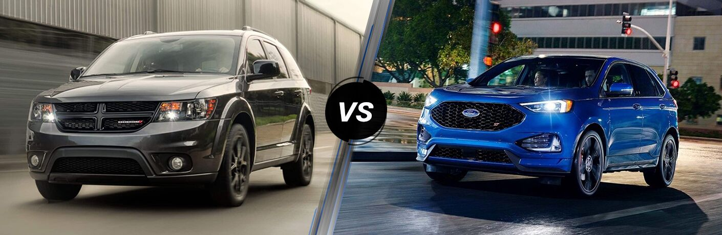 Dark grey 2019 Dodge Journey and blue 2019 Ford Edge