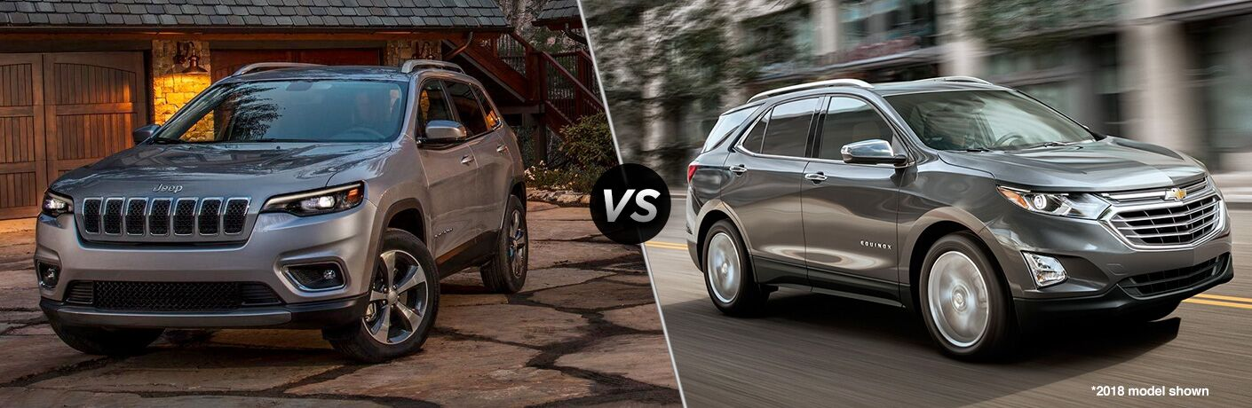 2019 Jeep Cherokee in Grey vs 2019 Chevy Equinox in Silver