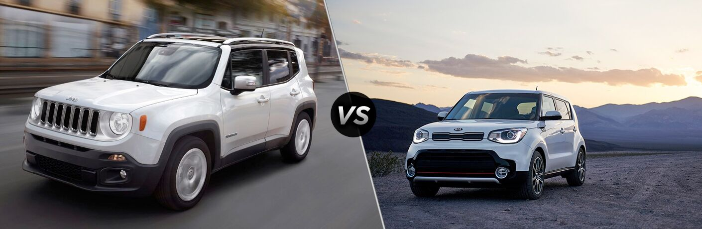 White 2019 Jeep Renegade and white 2019 Kia Soul