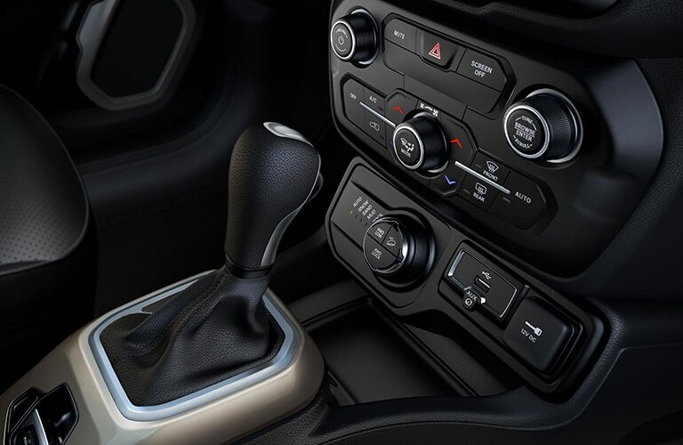 central console and gear shifter of the 2019 Jeep Renegade