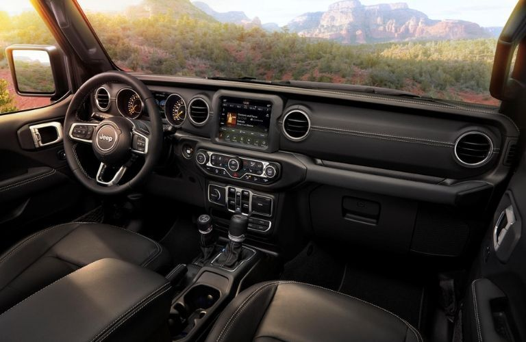 2020 Jeep Wrangler dashboard and steering wheel