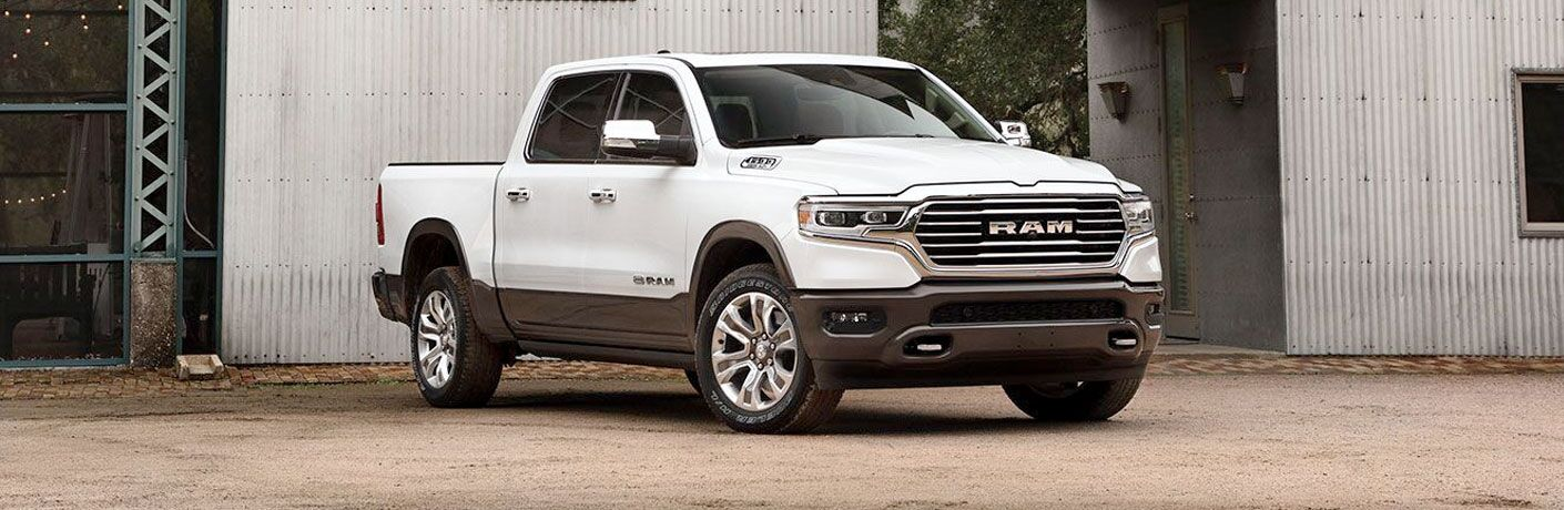 2020 Ram 1500 parked outside of warehouse
