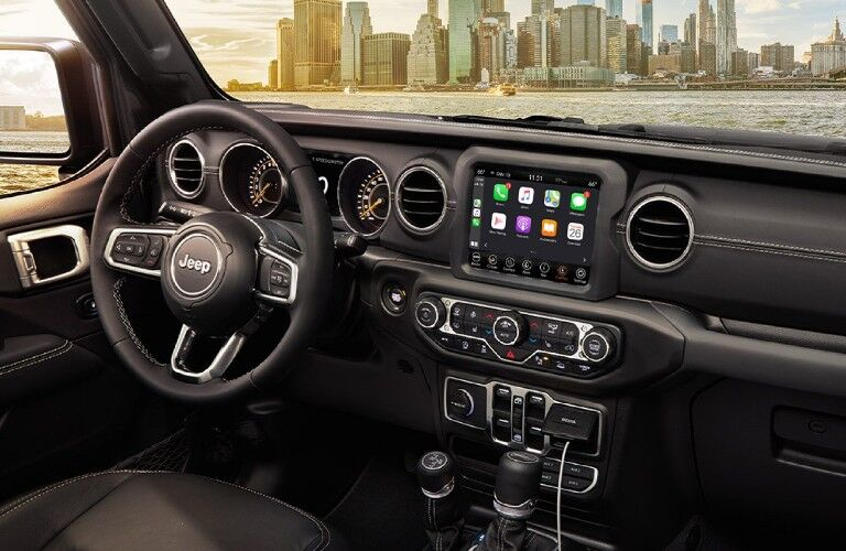 2021 Jeep Gladiator dashboard, steering wheel, and touchscreen