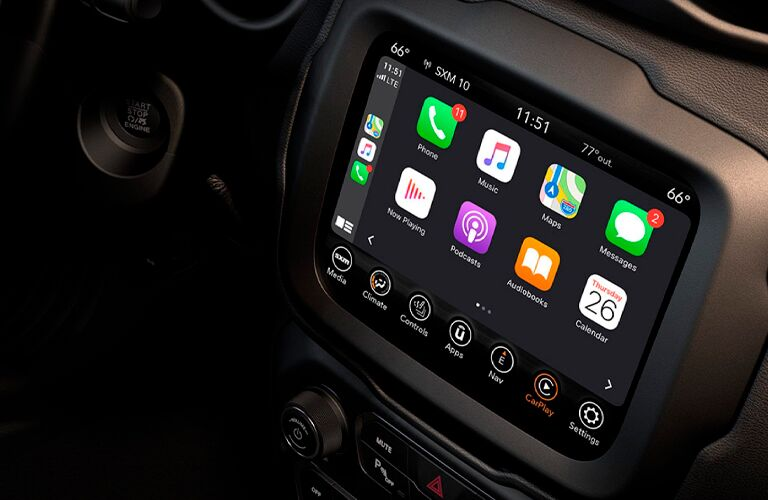 2021 Jeep Renegade touchscreen with Apple CarPlay
