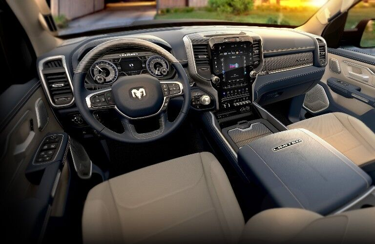 2021 RAM 1500 dashboard and steering wheel