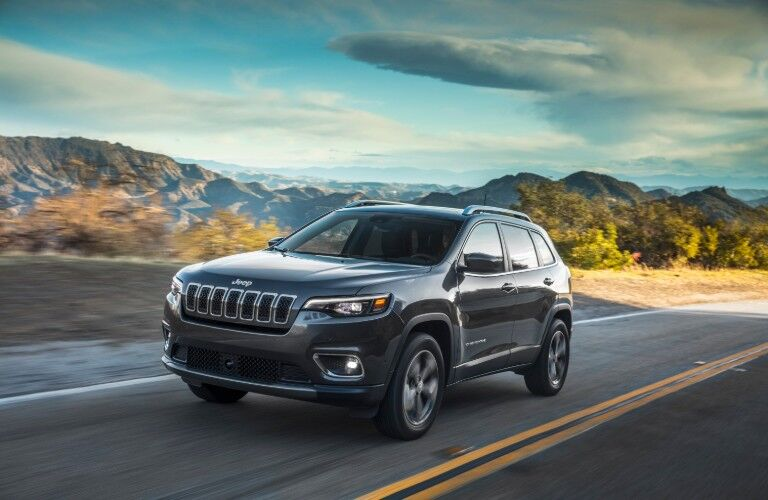 2021 Jeep Cherokee in front of mountains