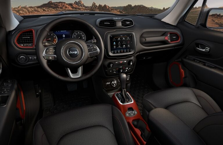 Black and red interior in 2019 Jeep Renegade