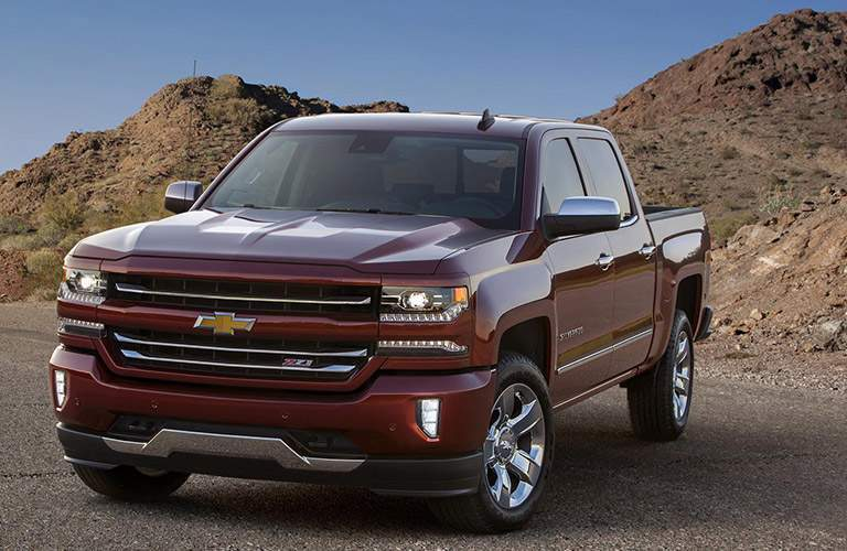 Chevy Silverado shown in red