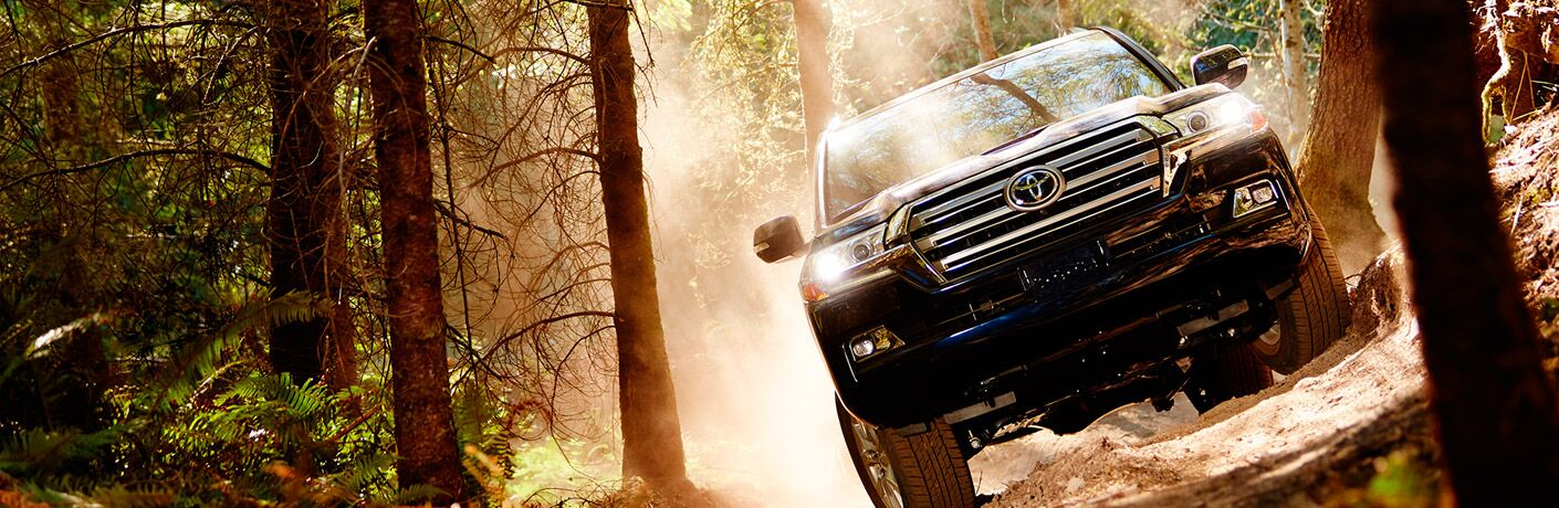 Land Cruiser driving off road in the woods