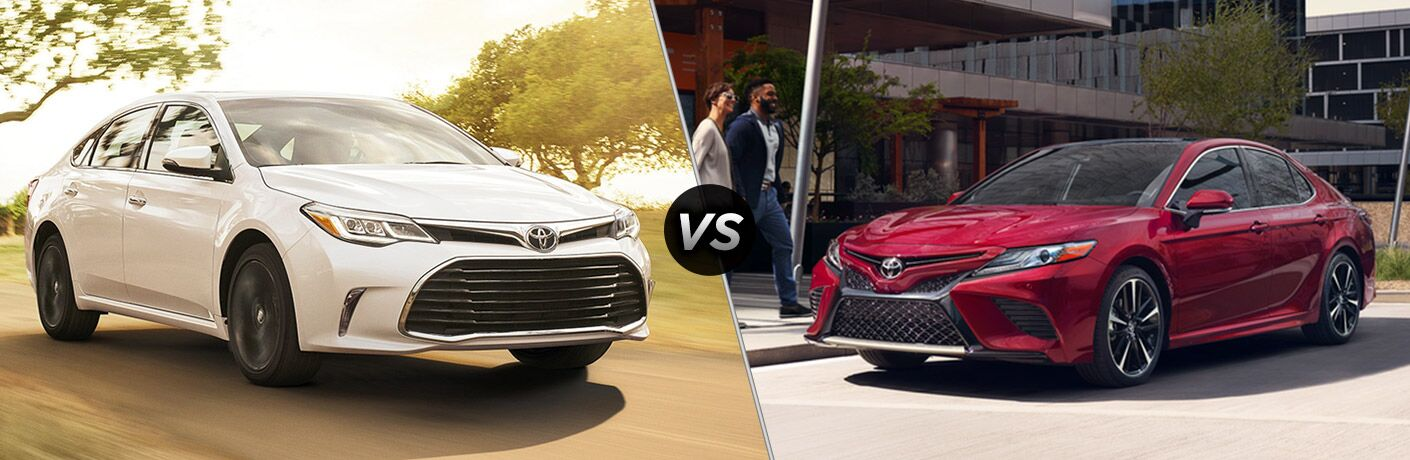 Split screen images of the 2018 Toyota Avalon and the 2018 Toyota Camry