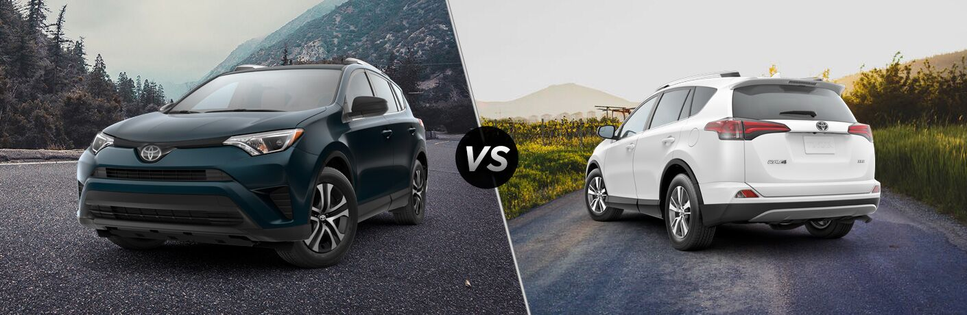 Split screen images of the 2018 Toyota RAV4 LE and XLE