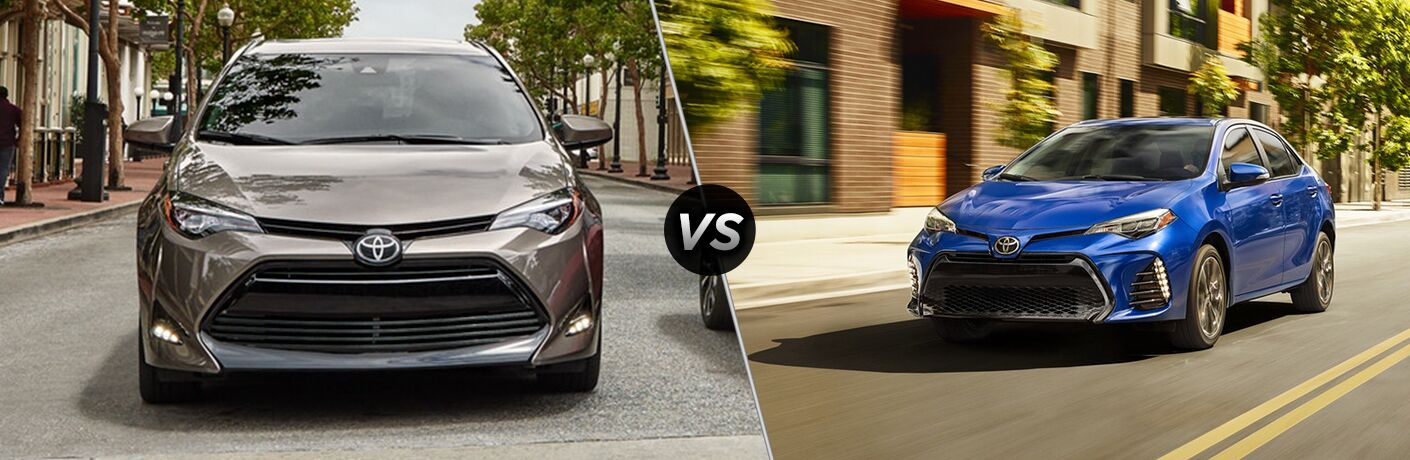 Split screen images of the 2019 Toyota Corolla LE and SE