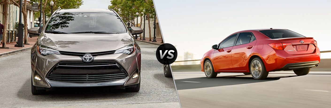 Split screen images of the 2019 Toyota Corolla XLE and XSE