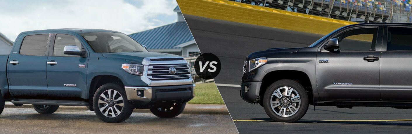 Split screen images of the 2019 Toyota Tundra and 2018 Toyota Tundra