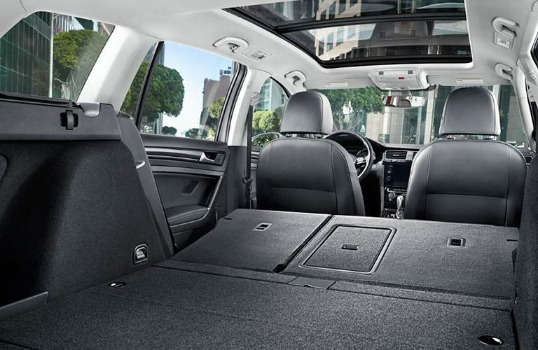 2018 VW Golf SportWagen interior cargo area with rear seats folded down